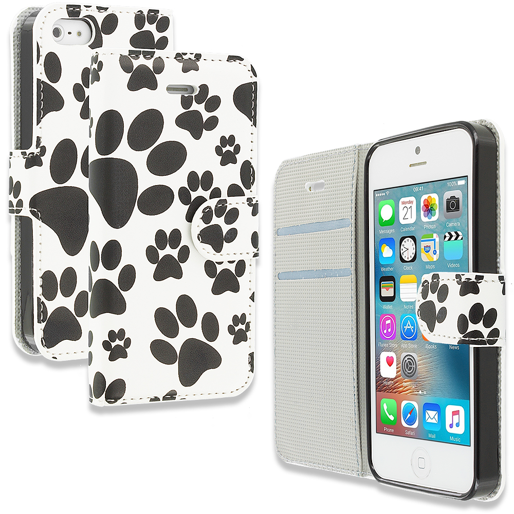 Apple iPhone 5/5S/SE Combo Pack : Bowknot Zebra Design Wallet Flip Pouch Case Cover with Credit Card ID Slots : Color Dog Paw