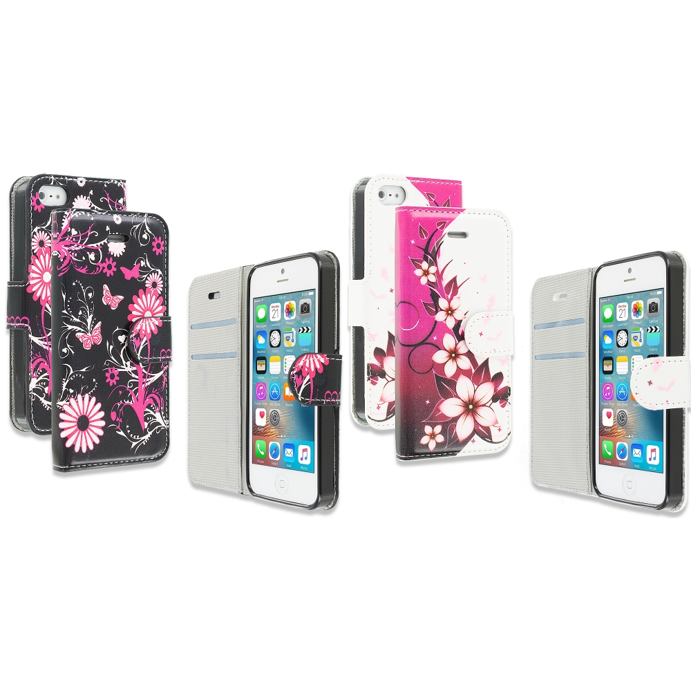 Apple iPhone 5/5S/SE Combo Pack : Pink Butterfly Flower Design Wallet Flip Pouch Case Cover with Credit Card ID Slots