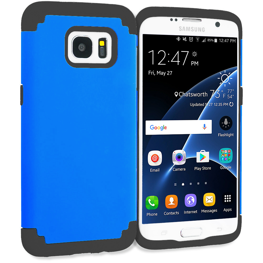 Samsung Galaxy S7 Edge Blue / Black Hybrid Slim Hard Soft Rubber Impact Protector Case Cover