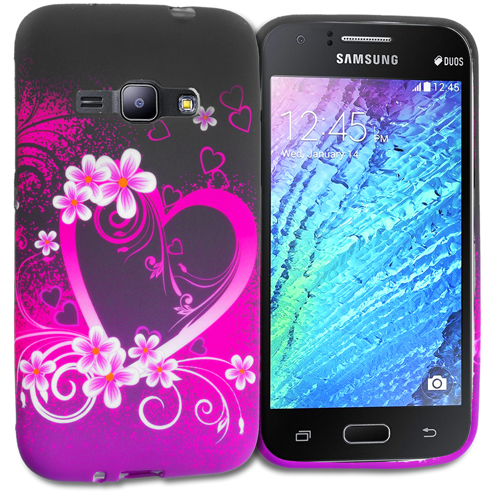 Samsung Galaxy J1 2016 Amp 2 Purple Love TPU Design Soft Rubber Case Cover