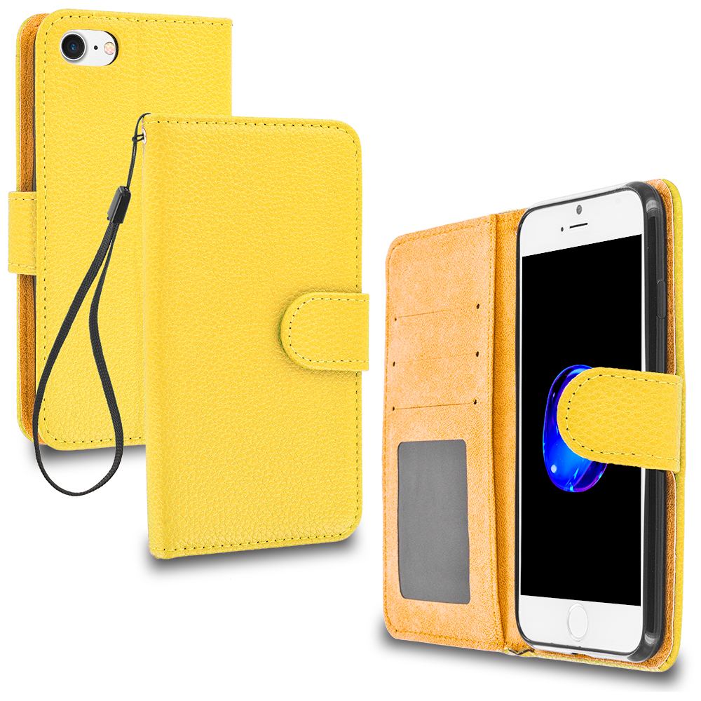 Apple iPhone 7 Yellow Leather Wallet Pouch Case Cover with Slots