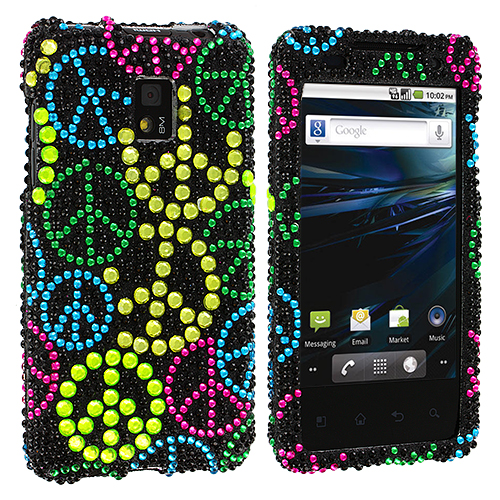LG Optimus G2X P990 Colorful Peace Sign Bling Rhinestone Case Cover