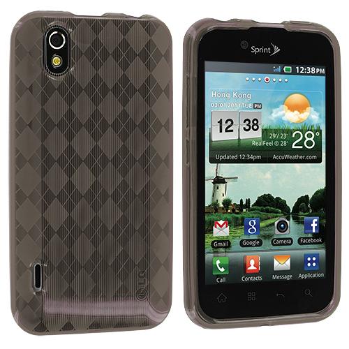 LG Optimus Black P970 / Marquee Smoke Checkered TPU Rubber Skin Case Cover