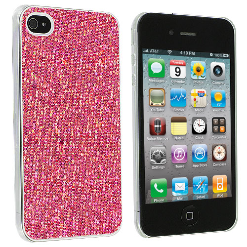 Apple iPhone 4 / 4S 2 in 1 Combo Bundle Pack - Pink Silver Glitter Case Cover : Color Pink