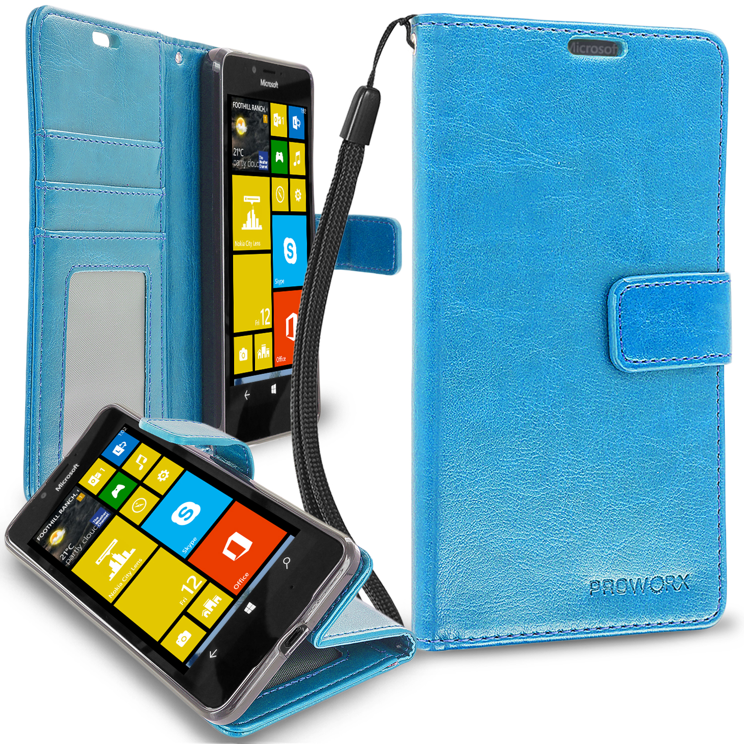 Microsoft Lumia 650 Baby Blue ProWorx Wallet Case Luxury PU Leather Case Cover With Card Slots & Stand