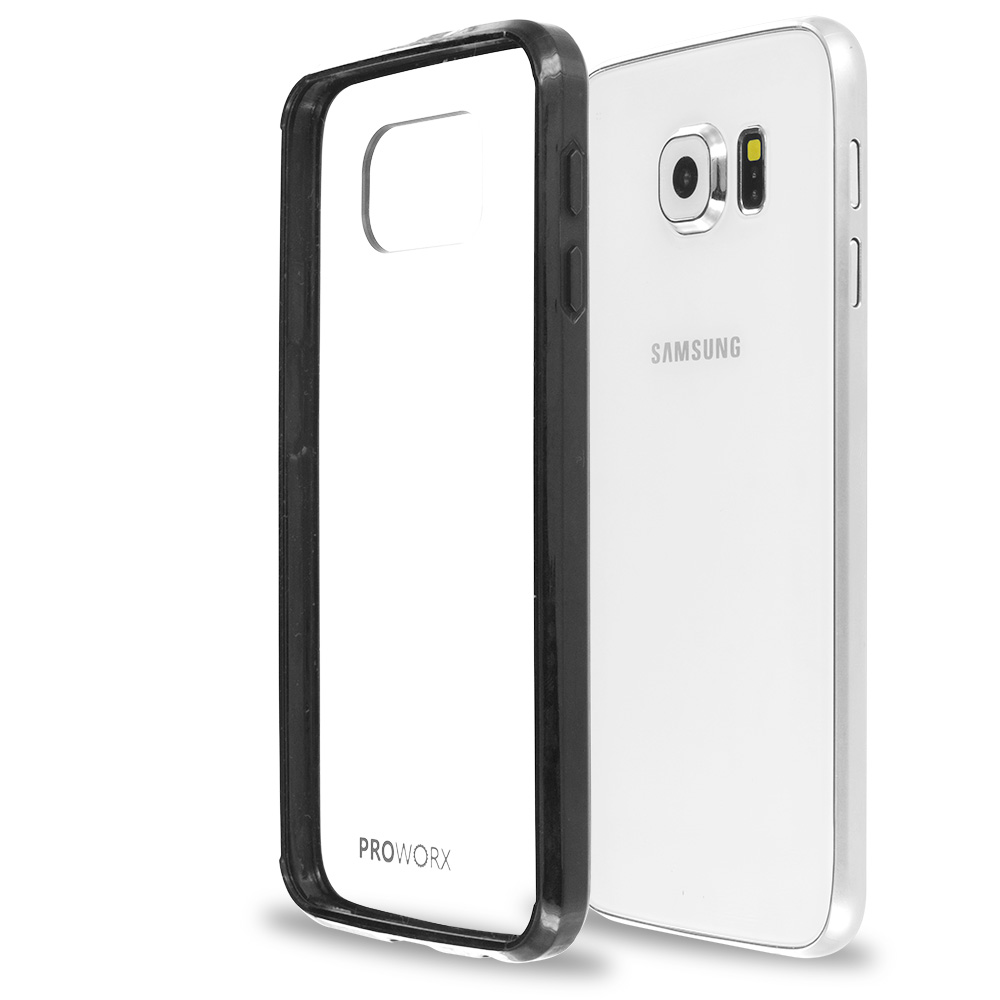 Samsung Galaxy S6 Black ProWorx Shock Absorption Case Bumper TPU & Anti-Scratch Clear Back Cover