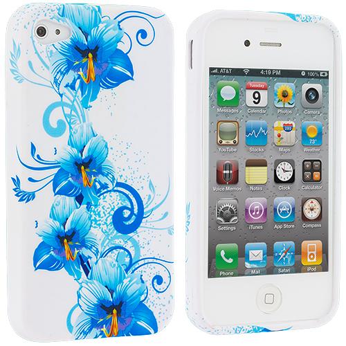 Apple iPhone 4 / 4S Blue Flower TPU Design Soft Case Cover