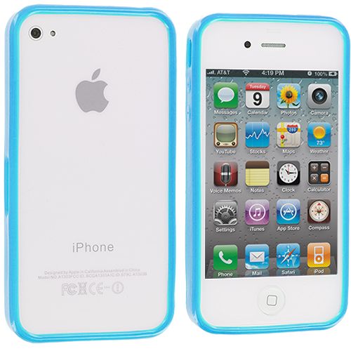 Apple iPhone 4 / 4S 2 in 1 Combo Bundle Pack - Baby Blue Pink Solid TPU Bumper : Color Baby Blue Solid