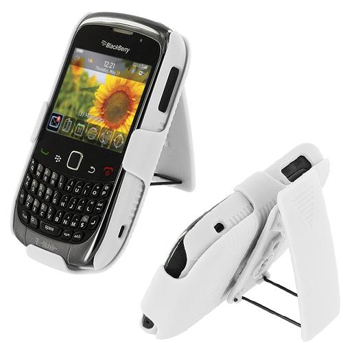 BlackBerry Curve 8520 8530 3G 9300 9330 White Hard Rubberized Belt Clip Holster Case Cover