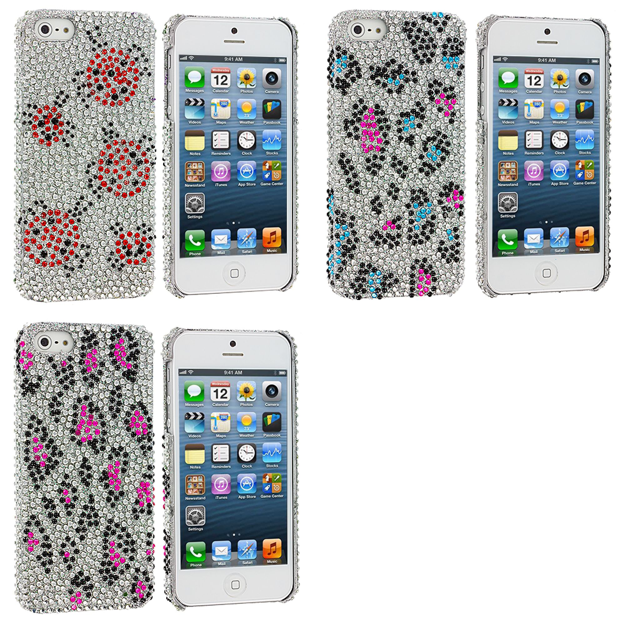 Apple iPhone 5/5S/SE Combo Pack : Lady Bug Bling Rhinestone Case Cover