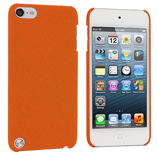 Apple iPod Touch 5th 6th Generation 2 in 1 Combo Bundle Pack - Yellow Orange Hard Rubberized Back Cover Case : Color Orange