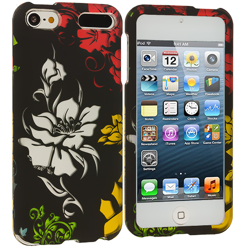 Apple iPod Touch 5th 6th Generation 3 in 1 Combo Bundle Pack - Flower Chain Hard Rubberized Design Case Cover : Color Flower in Black