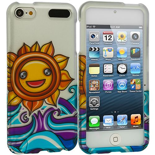 Apple iPod Touch 5th 6th Generation Sunrise on the Sea Hard Rubberized Design Case Cover