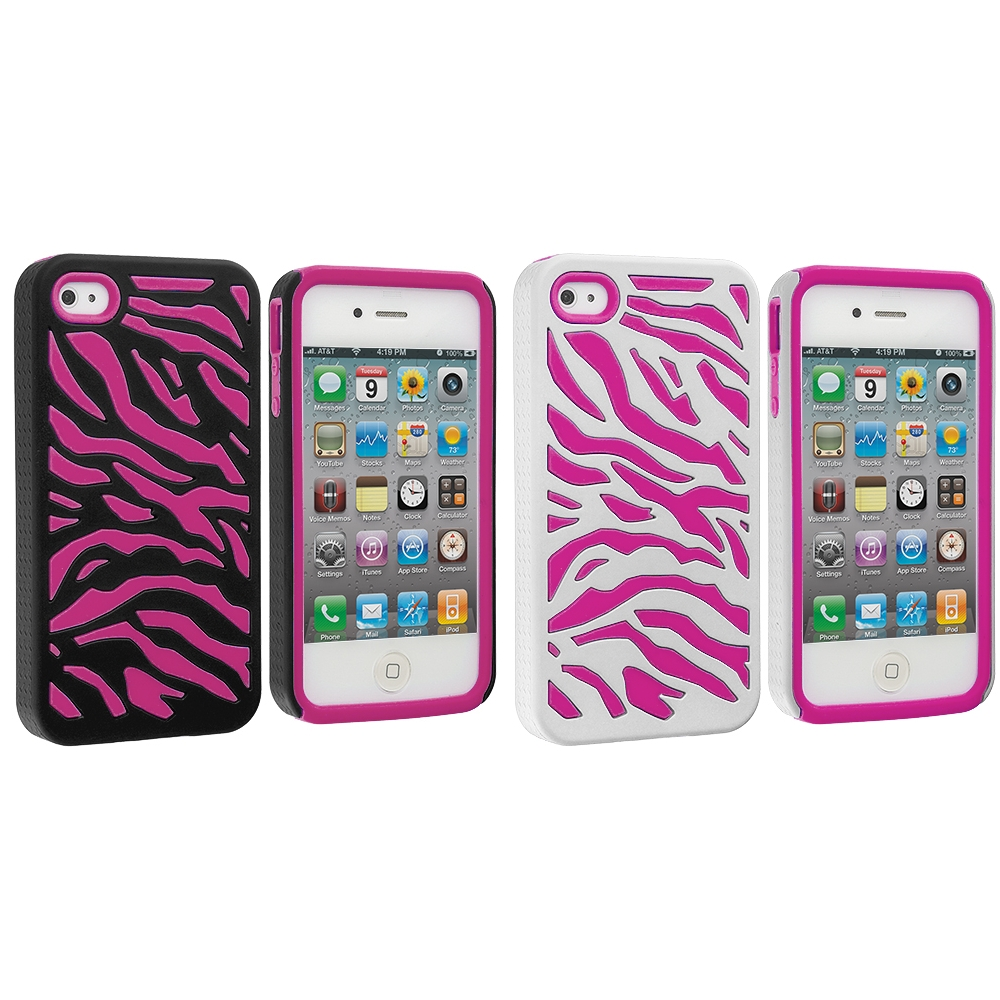 Apple iPhone 4 / 4S 2 in 1 Combo Bundle Pack - Hot Pink / White Hybrid Zebra Hard/Soft Case Cover