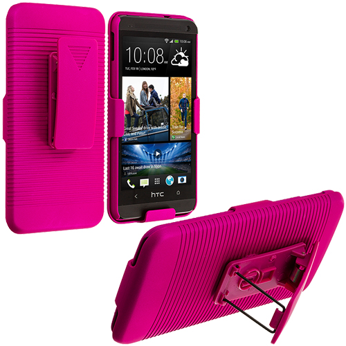 HTC One M7 Hot Pink Hard Rubberized Belt Clip Holster Case Cover