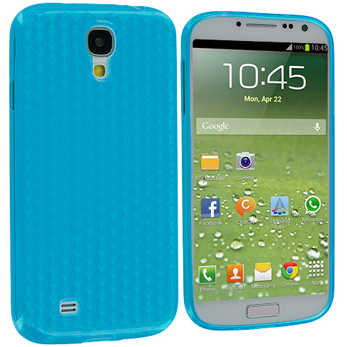 Samsung Galaxy S4 Baby Blue Diamond TPU Rubber Skin Case Cover