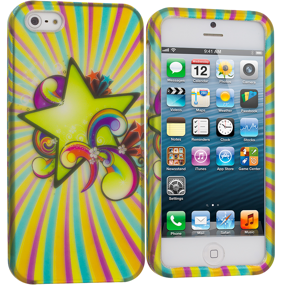 Apple iPhone 5/5S/SE Combo Pack : Pink Star Hard Rubberized Design Case Cover : Color SuperStar