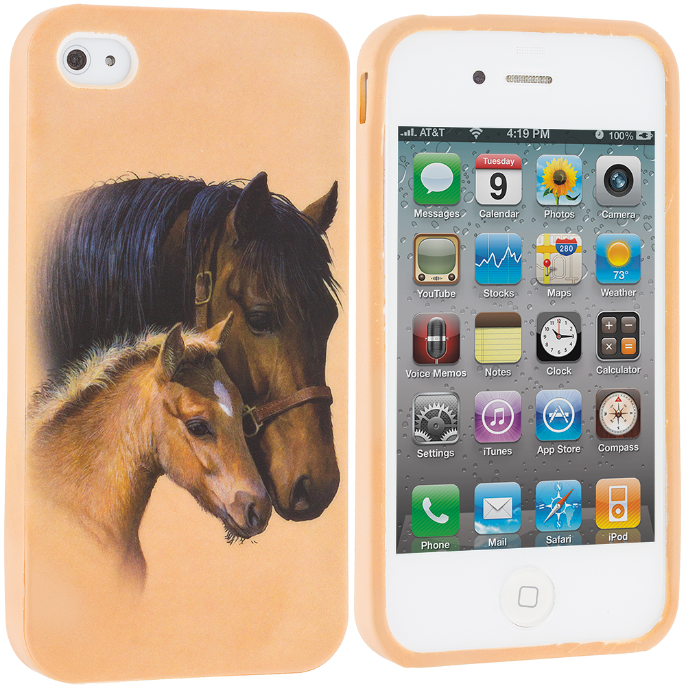 Apple iPhone 4 / 4S 2 in 1 Combo Bundle Pack - Horse Unicorn TPU Design Soft Case Cover : Color Horse