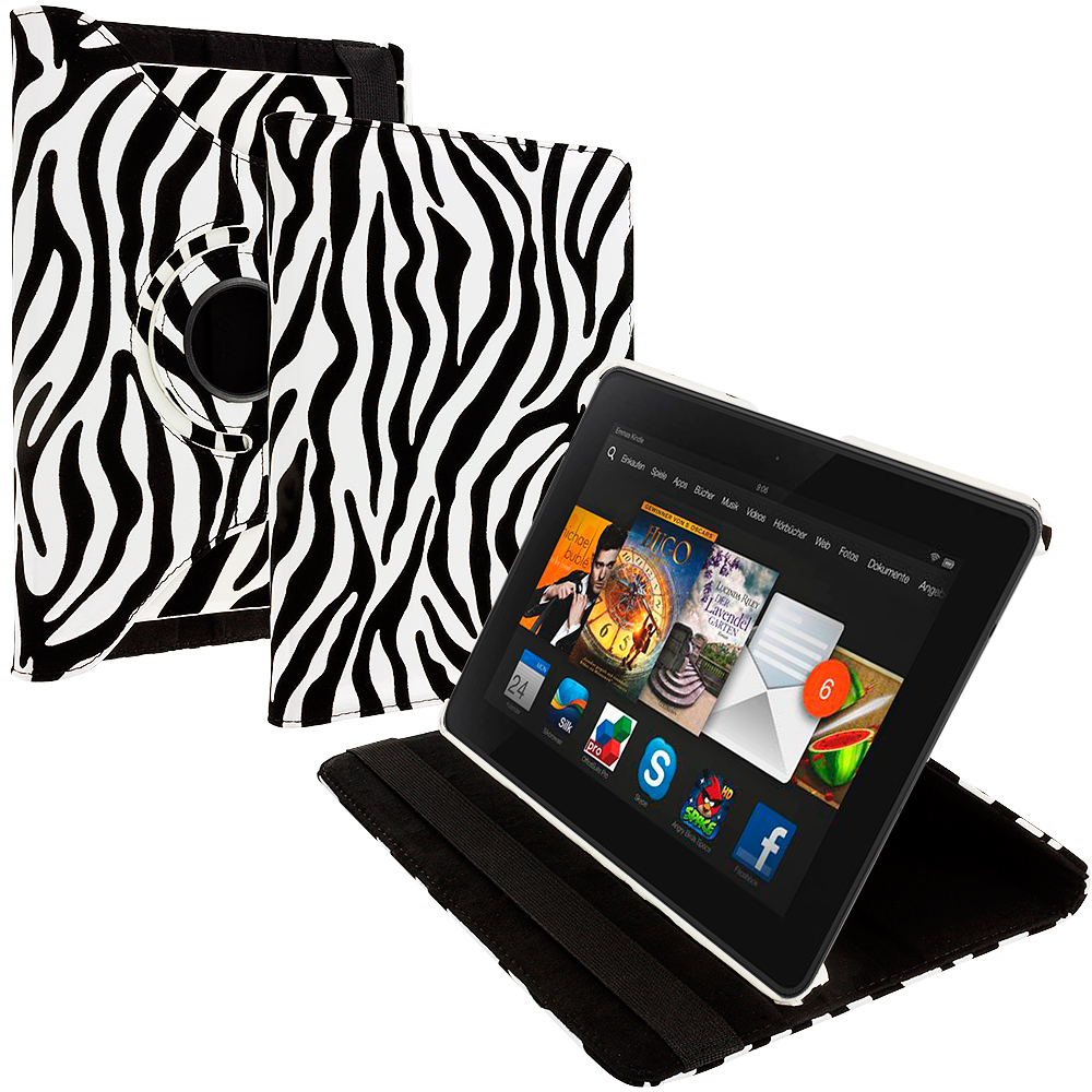 Amazon Kindle Fire HDX 7 Black White Zebra 360 Rotating Leather Pouch Case Cover Stand