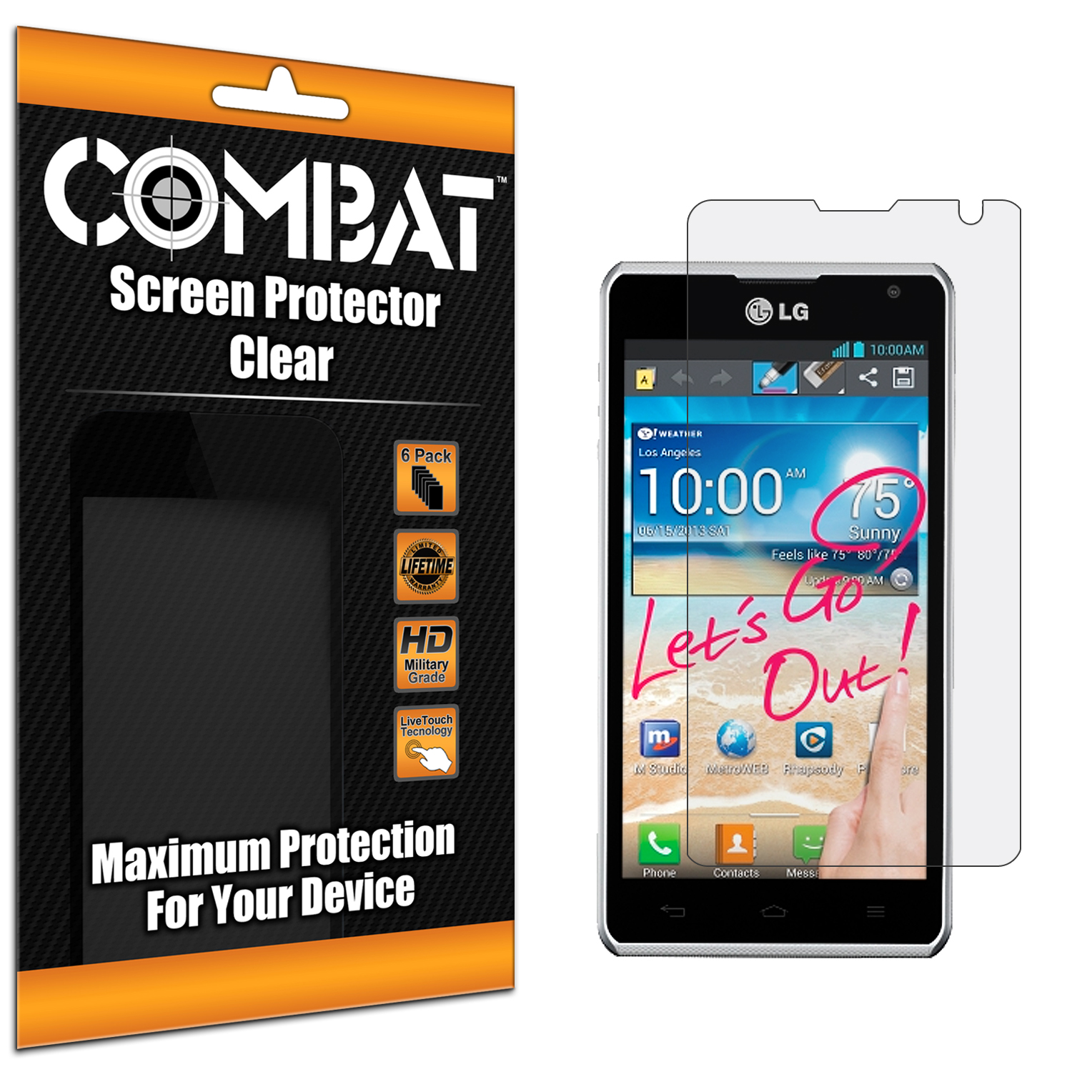 LG Spirit 4G MS870 Combat 6 Pack HD Clear Screen Protector