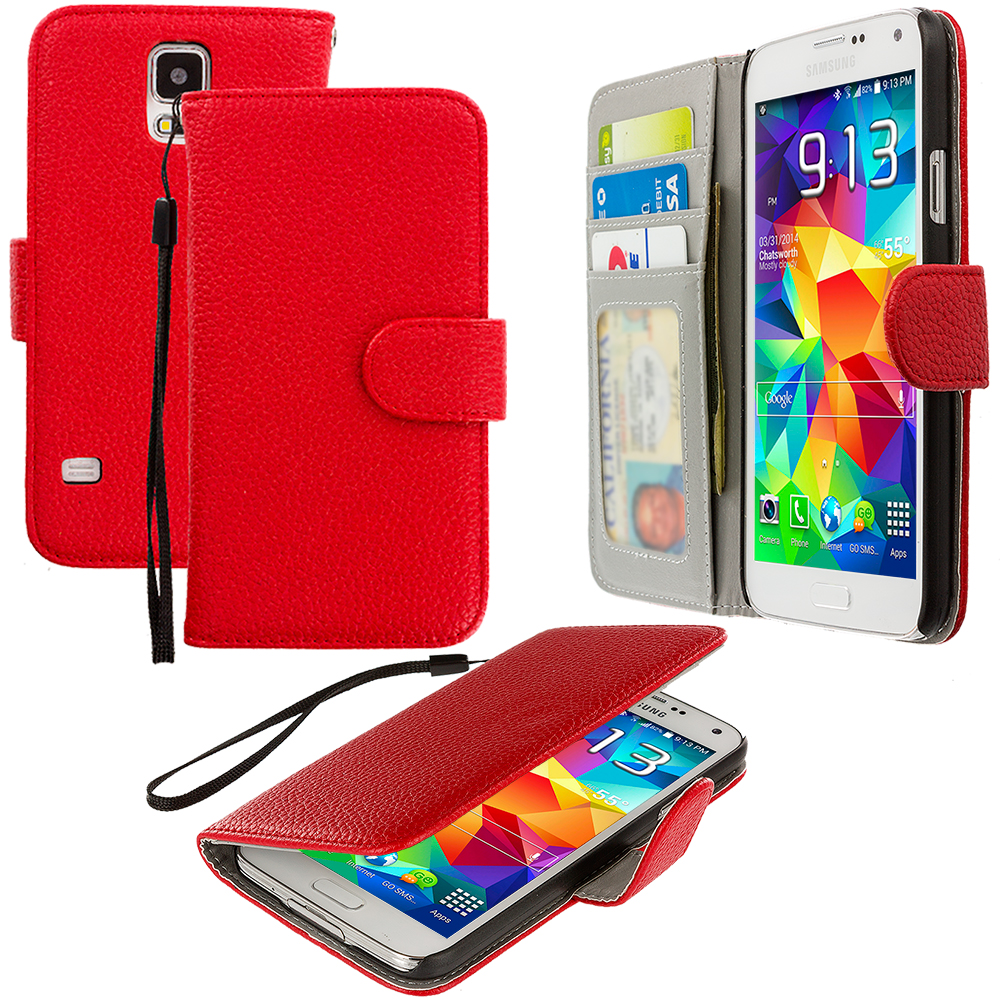 Samsung Galaxy S5 2 in 1 Combo Bundle Pack - Black Red Leather Wallet Pouch Case Cover with Slots : Color Red