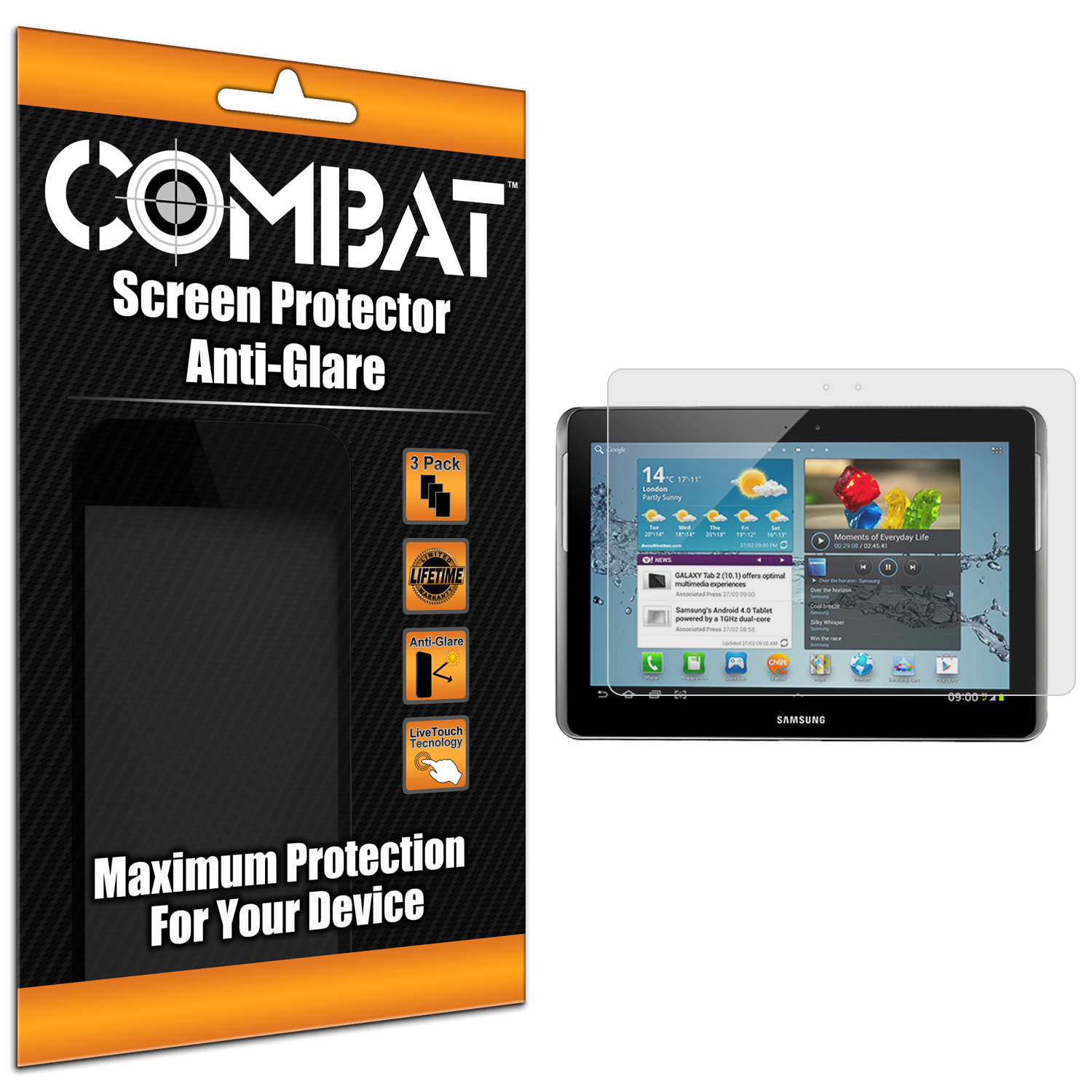 Samsung Galaxy Tab 2 10.1 Combat 3 Pack Anti-Glare Matte Screen Protector