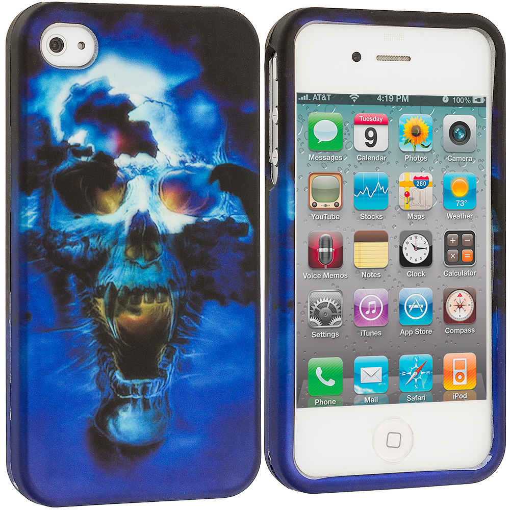 Apple iPhone 4 Blue Skulls2D Hard Rubberized Design Case Cover