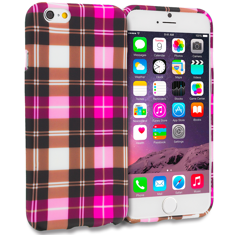 Apple iPhone 6 6S (4.7) Hot Pink Checkered TPU Design Soft Case Cover