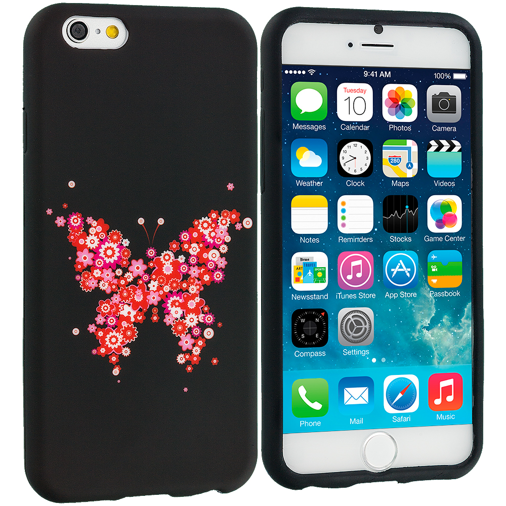 Apple iPhone 6 Plus 6S Plus (5.5) Butterfly Hearts TPU Design Soft Rubber Case Cover