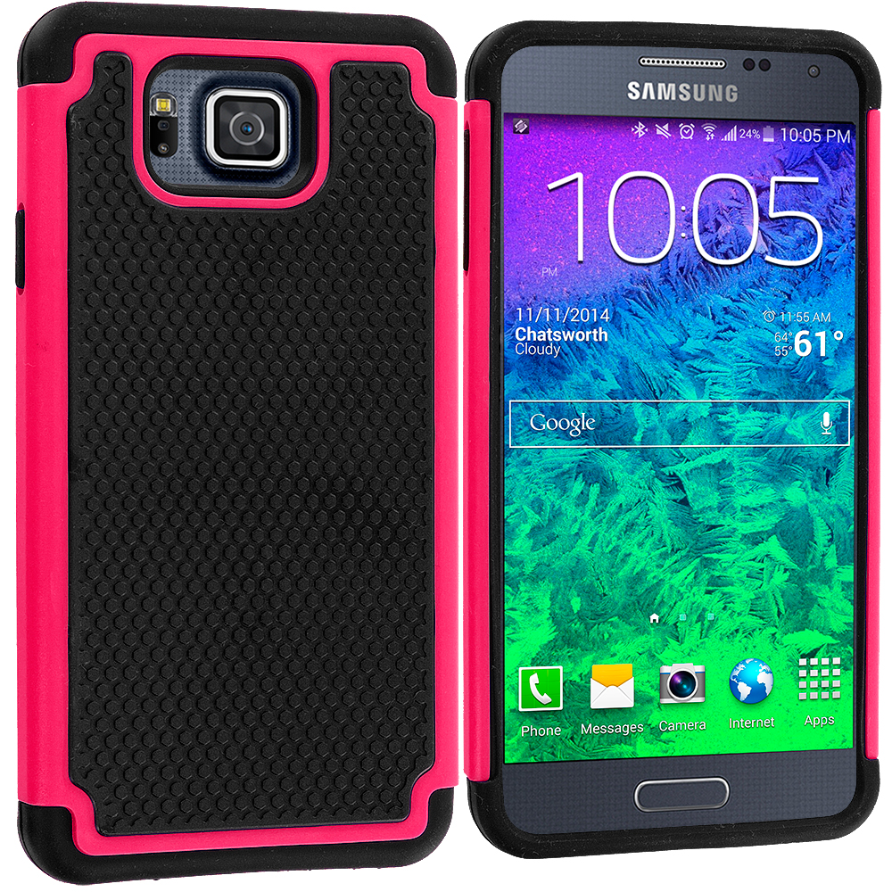Samsung Galaxy Alpha G850 Black / Hot Pink Hybrid Rugged Grip Shockproof Case Cover