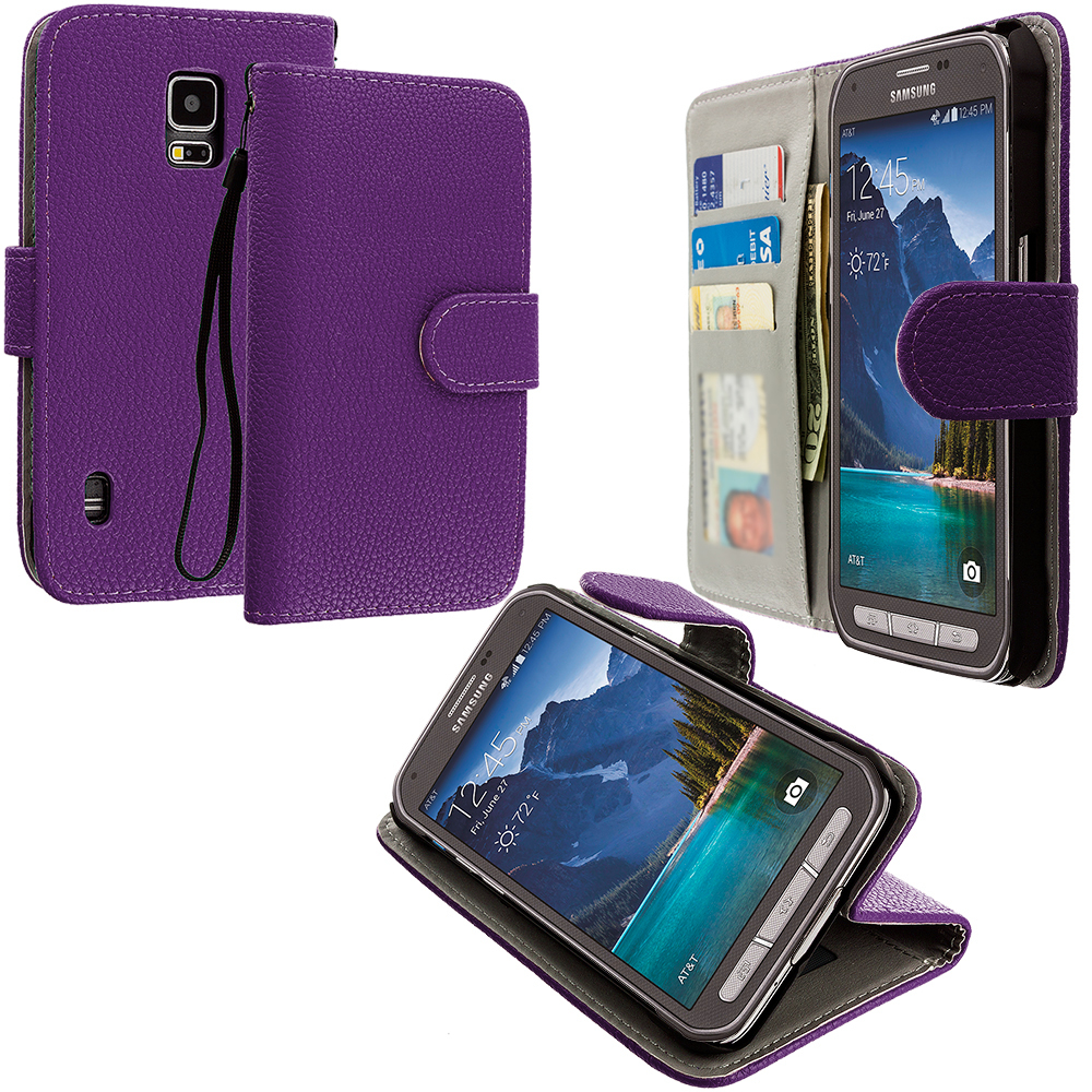 Samsung Galaxy S5 Active Purple Leather Wallet Pouch Case Cover with Slots
