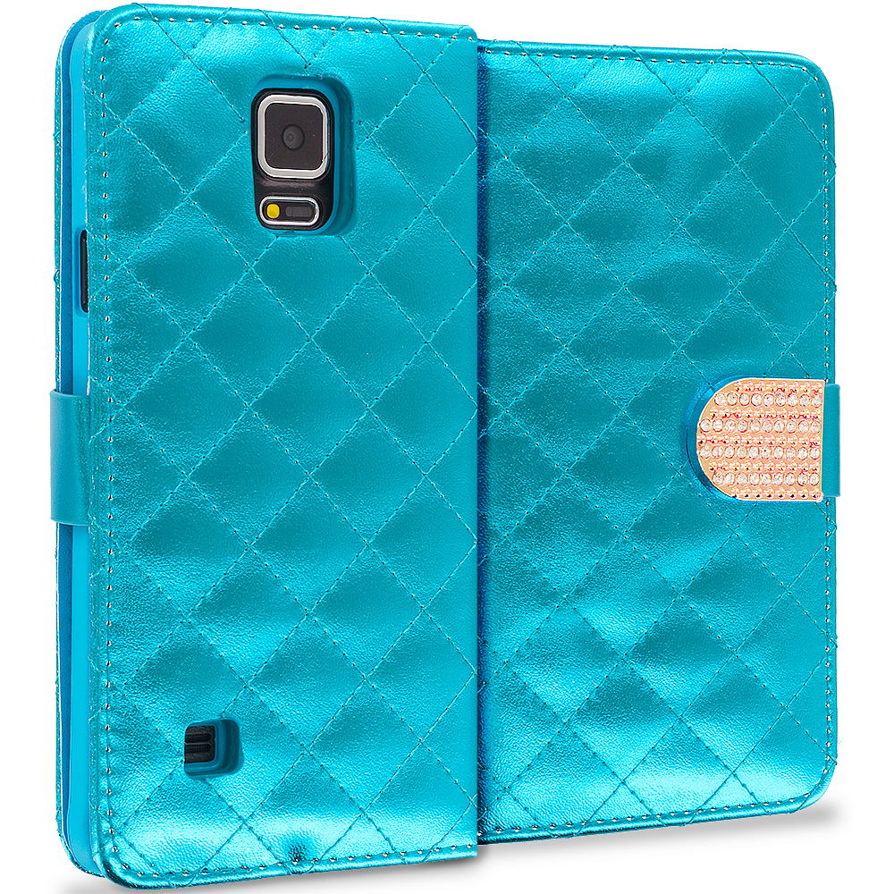 Samsung Galaxy Note 4 Teal Luxury Wallet Diamond Design Case Cover With Slots