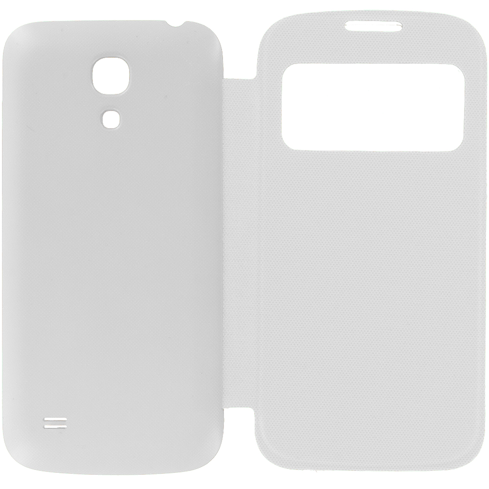 Samsung Galaxy S4 Mini i9190 White Battery Door Rear Replacement Ultra Slim Wallet Flip Case Cover