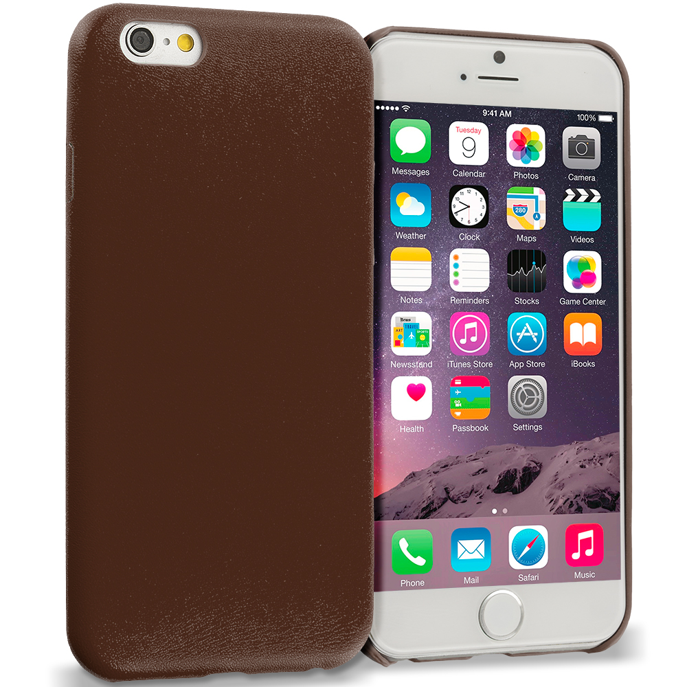 Apple iPhone 6 Plus 6S Plus (5.5) Brown Premium Leather TPU Slim Case Cover