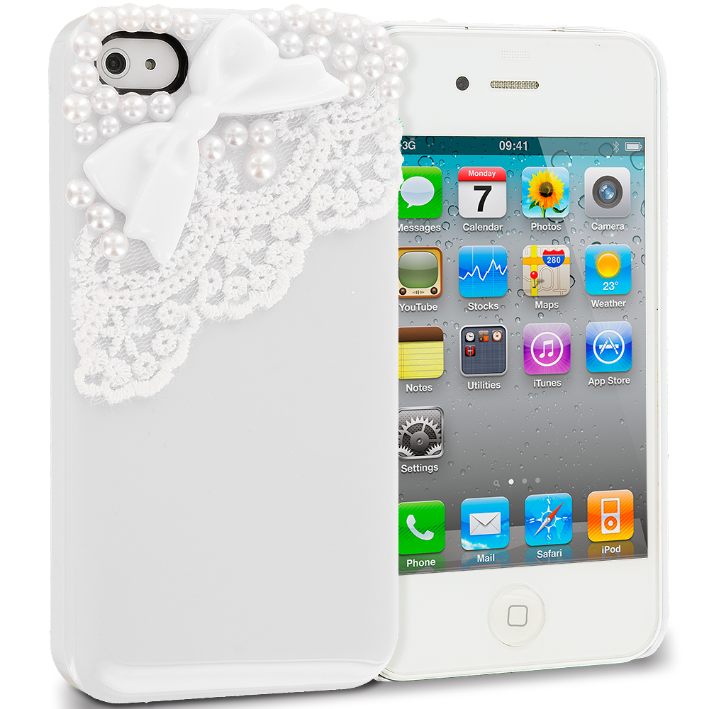 Apple iPhone 4 / 4S 2 in 1 Combo Bundle Pack - Golden Silver Pearls Crystal Hard Back Cover Case : Color White Pearls