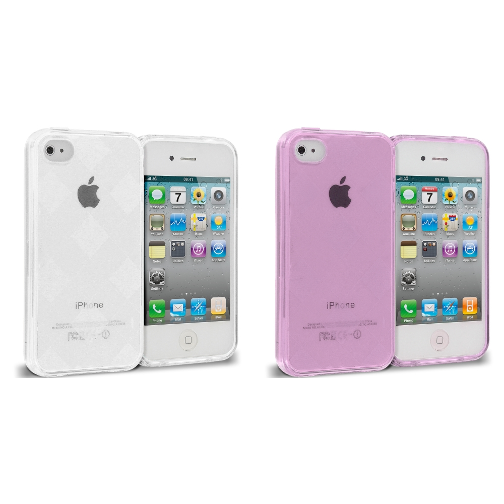Apple iPhone 4 / 4S 2 in 1 Combo Bundle Pack - Purple Silver Diamond TPU Rubber Skin Case Cover