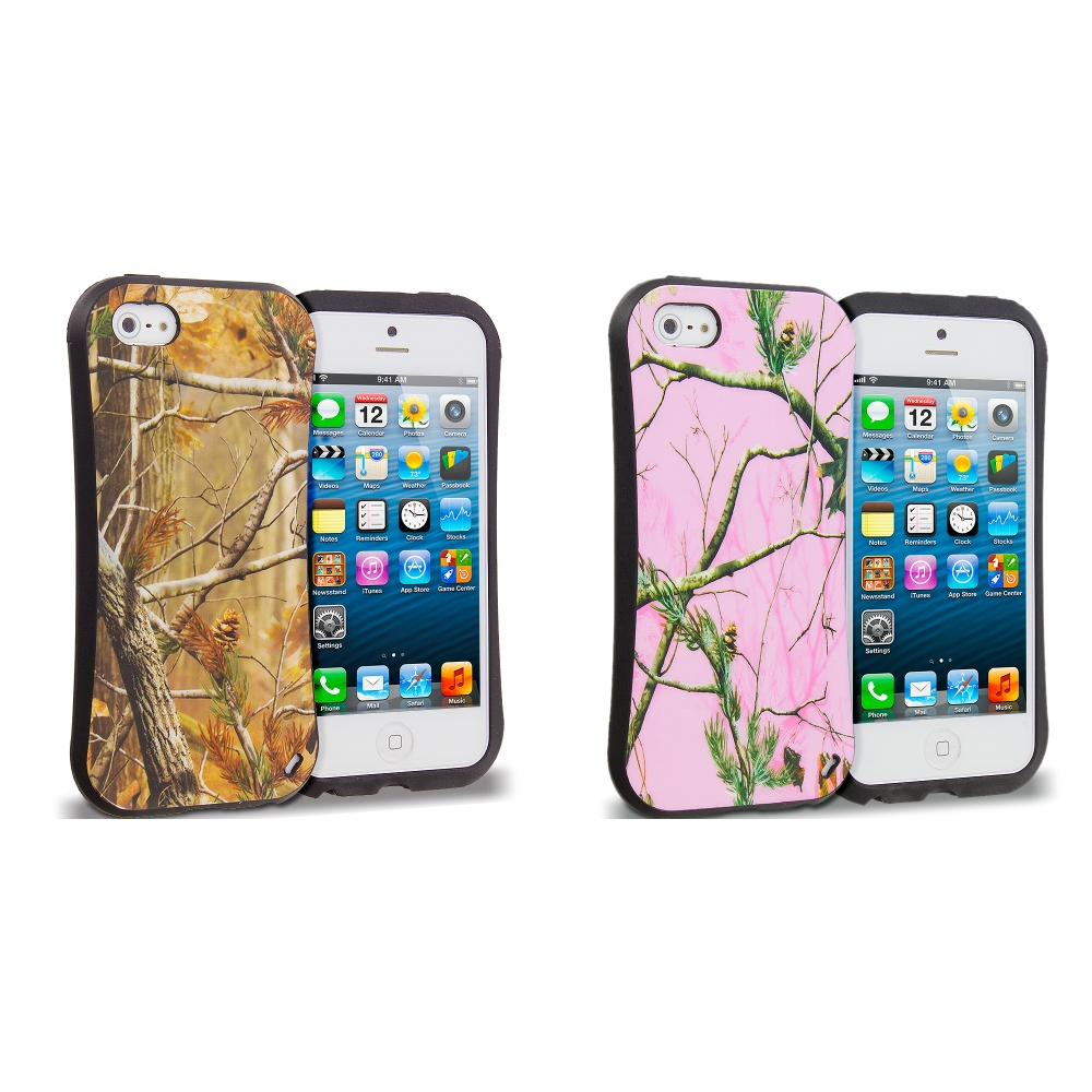 Apple iPhone 5/5S/SE Combo Pack : Gray Tree Hybrid TPU Hard Soft Shockproof Drop Proof Case Cover