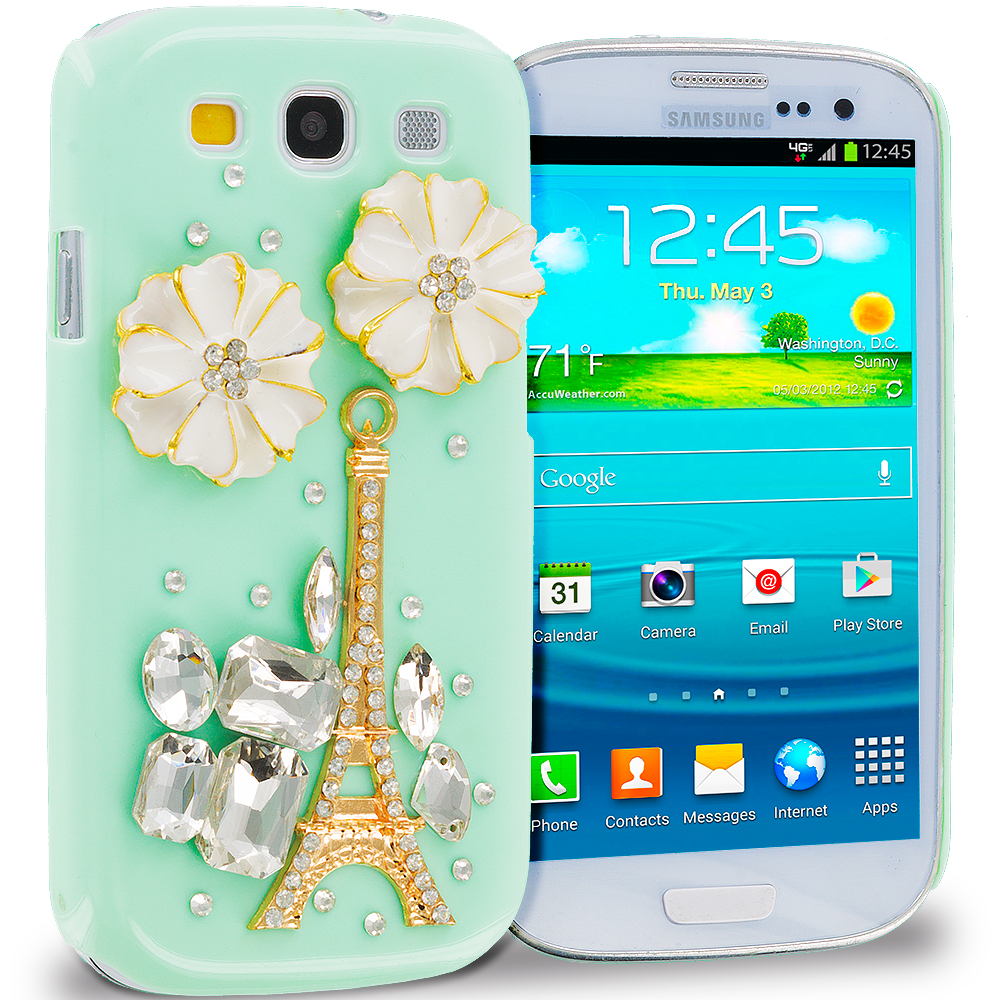 Samsung Galaxy S3 Mint Green Eiffel Tower Crystal Hard Back Cover Case