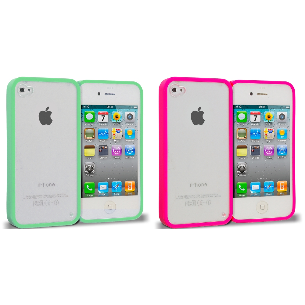 Apple iPhone 4 / 4S 2 in 1 Combo Bundle Pack - Hot Pink Green TPU Plastic Hybrid Case Cover