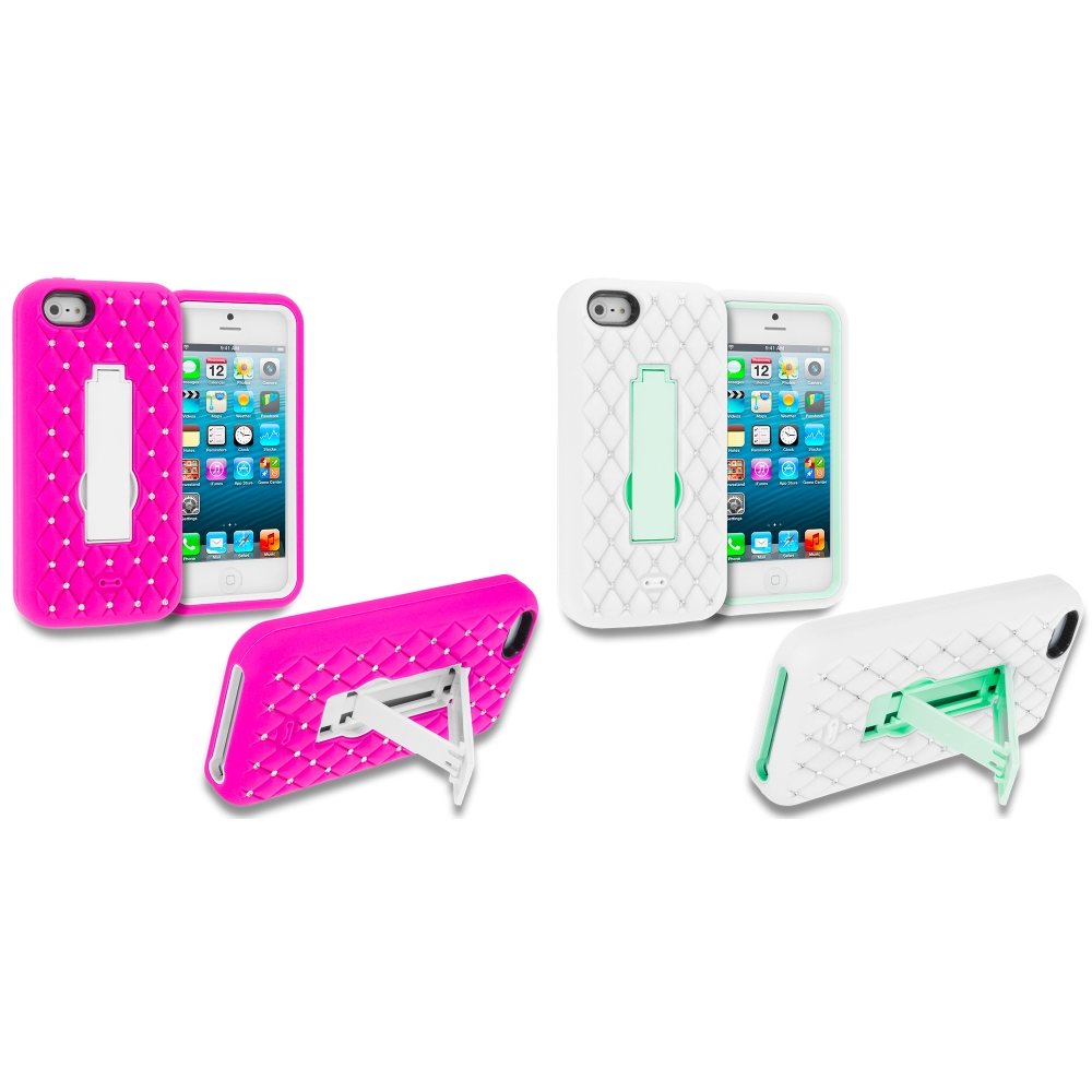 Apple iPhone 5/5S/SE Combo Pack : Hot Pink / White Hybrid Diamond Bling Hard Soft Case Cover with Kickstand