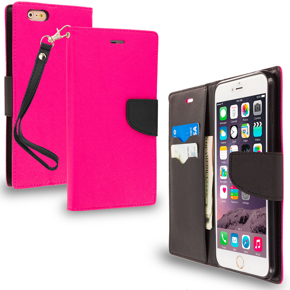 Apple iPhone 6 Plus 6S Plus (5.5) Hot Pink / Black Leather Flip Wallet Pouch TPU Case Cover with ID Card Slots