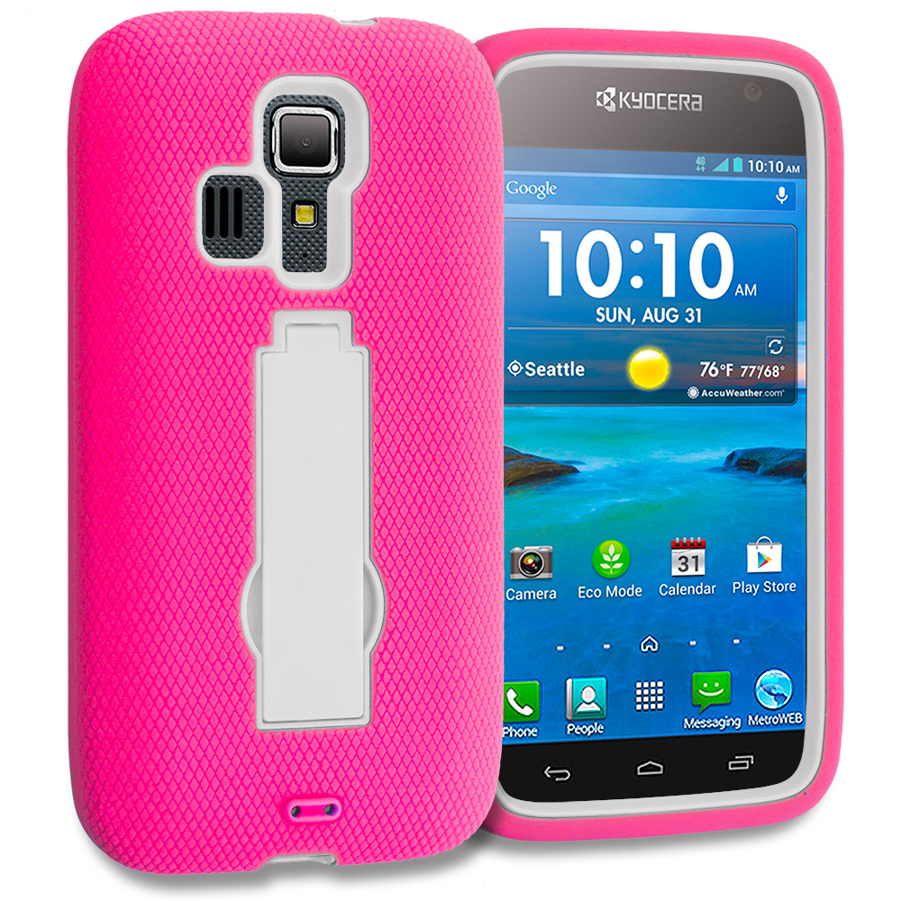 Kyocera Hydro Icon / Hydro Life Hot Pink / White Hybrid Heavy Duty Hard Soft Case Cover with Kickstand