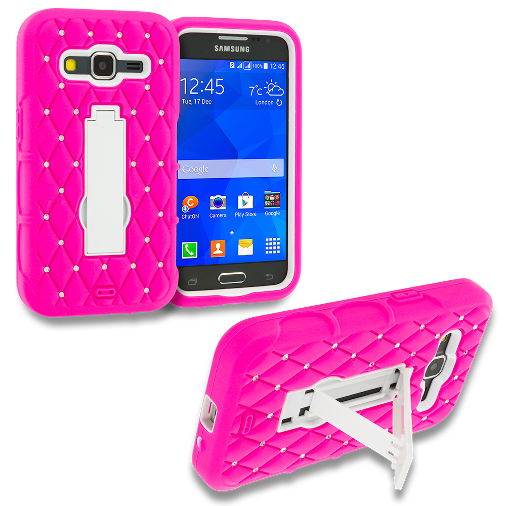 Samsung Galaxy Prevail LTE Core Prime G360P Hot Pink / White Hybrid Diamond Bling Hard Soft Case Cover with Kickstand
