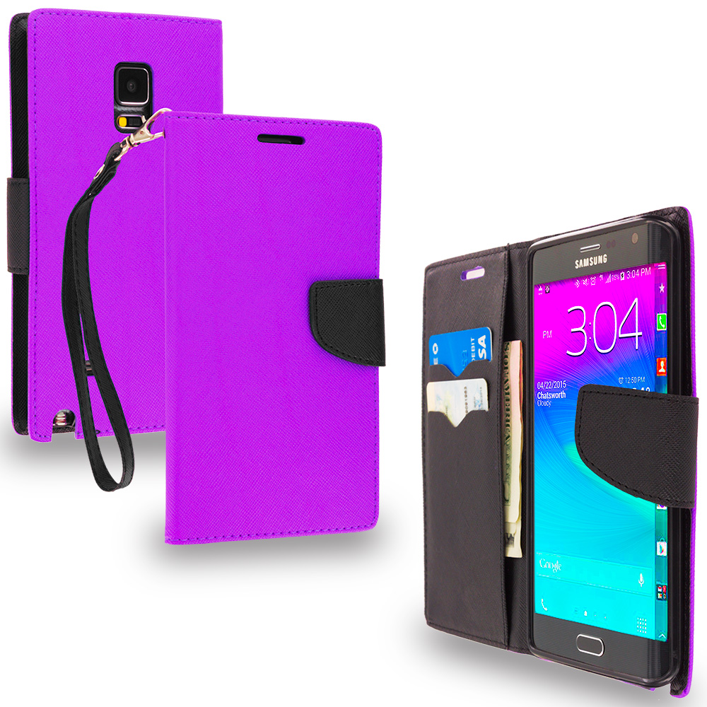 Samsung Galaxy Note Edge Purple / Black Leather Flip Wallet Pouch TPU Case Cover with ID Card Slots