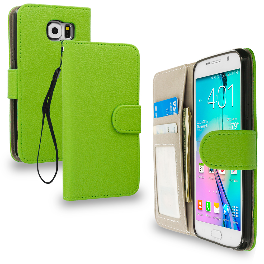 Samsung Galaxy S6 Combo Pack : Neon Green Leather Wallet Pouch Case Cover with Slots : Color Neon Green