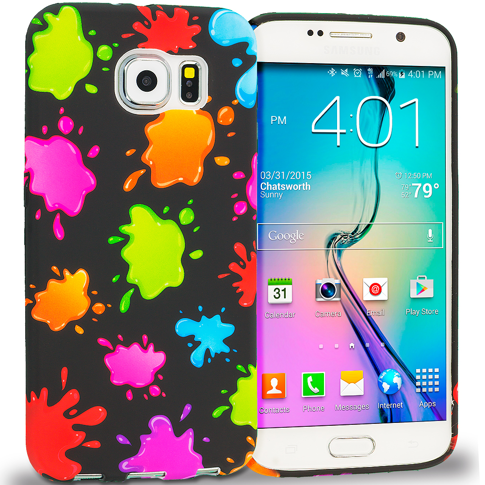 Samsung Galaxy S6 Colorful Splash TPU Design Soft Rubber Case Cover