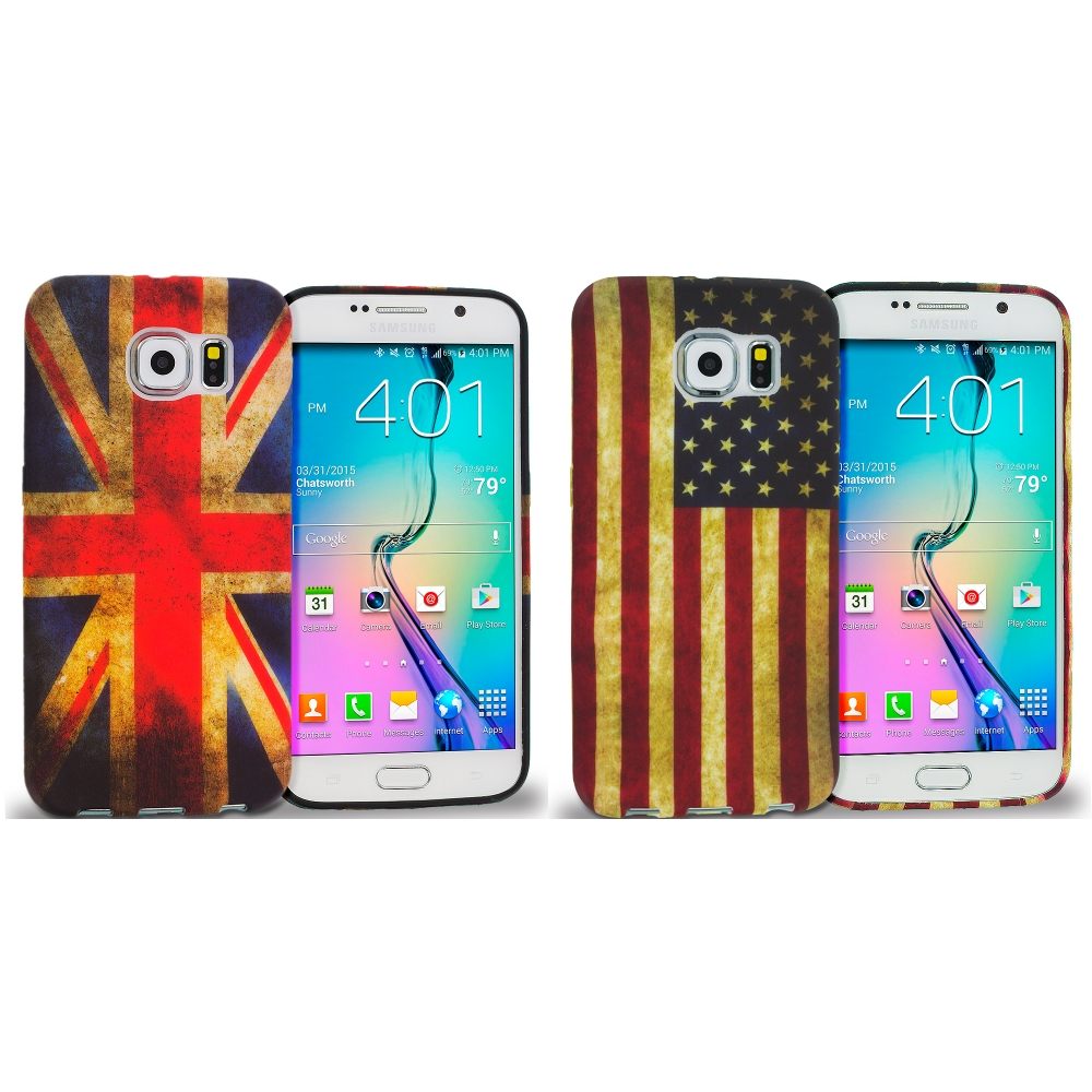 Samsung Galaxy S6 Combo Pack : The Union Flag TPU Design Soft Rubber Case Cover