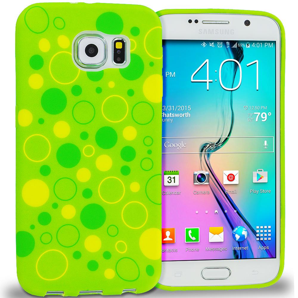 Samsung Galaxy S6 Green Bubbles TPU Design Soft Rubber Case Cover