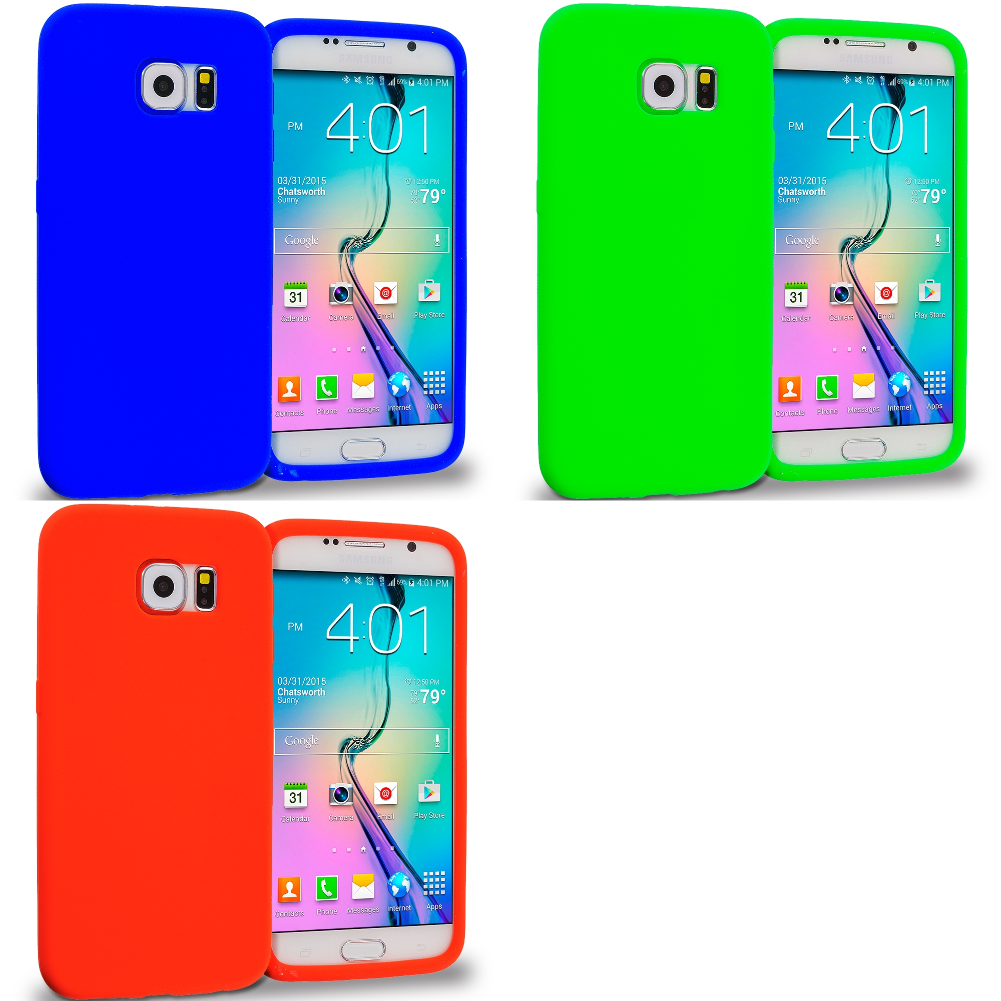 Samsung Galaxy S6 Combo Pack : Blue Silicone Soft Skin Rubber Case Cover