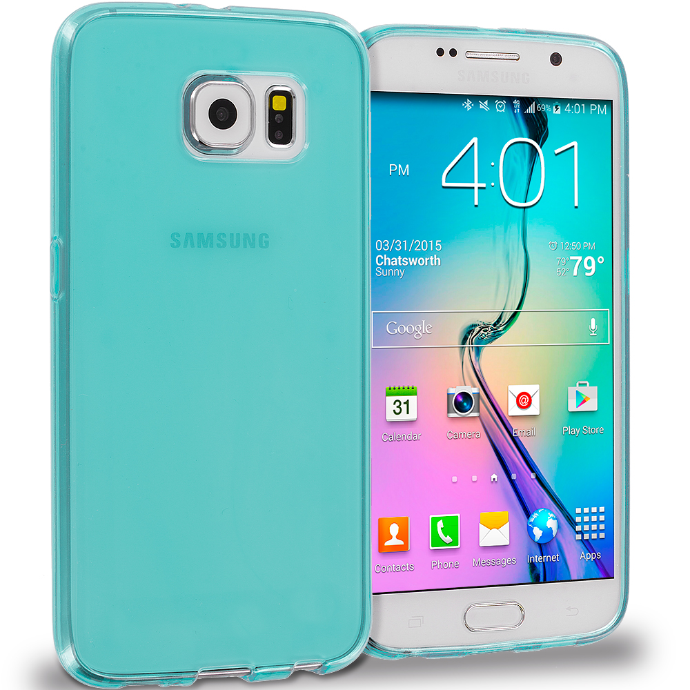 Samsung Galaxy S6 Combo Pack : Mint Green Plain TPU Rubber Skin Case Cover : Color Mint Green Plain